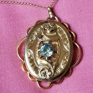 Vintage gold filled locket Aquamarine blue gem